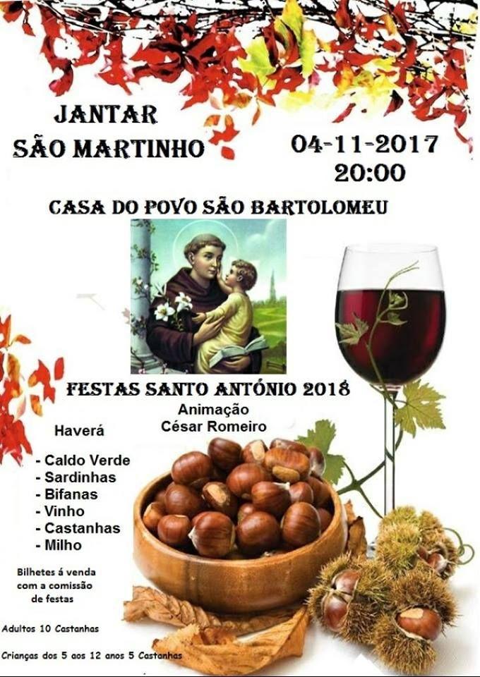 Jantar de São Martinho em São Bartolomeu